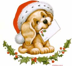 Santa Clause puppy Christmas Illustration by Ruth Morehead Christmas Scenes, Christmas Animals, Christmas Images, Christmas Dog, Vintage Christmas, Christmas Clipart, Christmas Gift Tags, Christmas Printables, Christmas Crafts