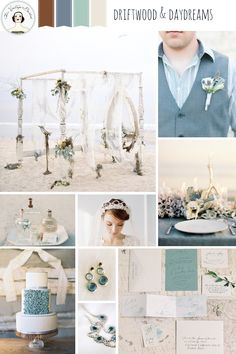 Driftwood & Daydreams - a beach wedding inspiration board in shades of dusky blue and greyed jade