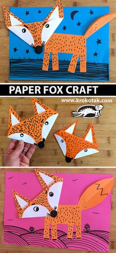 Paper fox craft for kids Preschool Christmas Crafts, Fox Crafts, Christmas Art Projects, Christmas Tree Crafts, Winter Crafts For Kids, Paper Crafts For Kids, Animal Crafts, Art For Kids, Fox Craft Preschool
