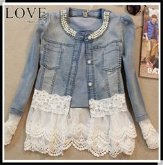 [Lace Beading Jacket]New 2015 lace Jeans Coats Long Sleeve Light Blue Jacket jaqueta feminina jeans jacket women chaquetas mujer