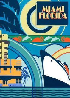 Miami Florida ~ Fine-Art Print - Vintage United States Travel Art Prints and Posters - Vintage Travel Pictures Miami Art Deco, Miami Florida, Miami Beach, Visit Florida, Inspiration Art, Beach Posters, Art Deco Posters, Retro Posters, Vintage Florida