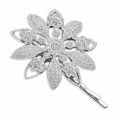 Silver Plated Crystal Flower Fashion Bobby Pin West Coast Jewelry. $25.95. Save 50% Off!
