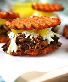 Sweet Potato Pulled Pork Sliders - I made these for a Super Bowl party. Just used sweet potato and pulled pork - so fun! Pork Recipes, Paleo Recipes, Real Food Recipes, Cooking Recipes, Yummy Food, Tasty, Potato Recipes, Lunch Recipes, Free Recipes