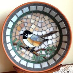 Mosaic dish, stained glass mosaic, bird art, chickadee, mosaic bird, stained glass bird Beautiful!