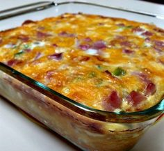 "Quick and easy breakfast casserole.""  Ingredients       	8 frozen hash brown patties   	4 cups shredded Cheddar cheese   	1 pound cooked ham, cut into cubes   	7 eggs   	1 cup milk   	1/2 teaspoon salt   	1/2 teaspoon ground mustard    Directions       	Preheat"