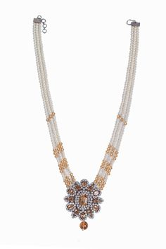 "This beautiful necklace is made with top quality citrine stones, fresh water pearls and Swarovski crystals.    Dimensions: measures from pendant till the claw clasp: 10.3"" long Pendant measures : 2.5""x2""   Citrine Flower Necklace  by Le Beau Maroc . Accessories - Jewelry - Necklaces Florida"