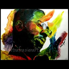 "Curtis Mayfield 12x16 "", acrylic and finger paint on canvas"