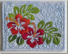 Postcard with hibiscus and leaves - very pretty quilting