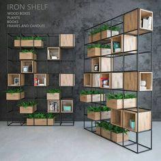 Iron shelf – Home Decoration Office Interior Design, Office Interiors, Iron Furniture, Furniture Design, Regal Design, Iron Shelf, Shelf Design, Kare Design, Design Design