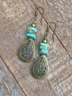 Antiqued brass filigree teardrops with small, green blue turquoise chips. Approx 1.5 in length and super light weight.
