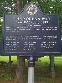 The Korean War. A memorial plaque in Florence, Lauderdale County, Alabama.