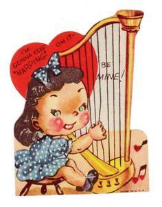 Very sweet #harp #valentine! I love the heart shaped music notes. #harpist #vintage #vintagevalentine #heart #music