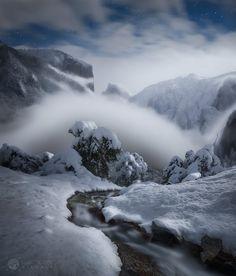 Enlightenment by Jeff Lewis..... #fog #night #storm #stream #moonlight #yosemite #visual #halfdome #landescape