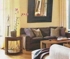 Yellow and brown living room