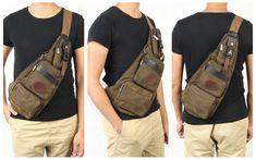 44fe0b58df Men Canvas Leisure Chest Bag Crossbody Bag Outdoor Travel Hiking Fishing  Multifunction Shoulder Bag is hot-sale