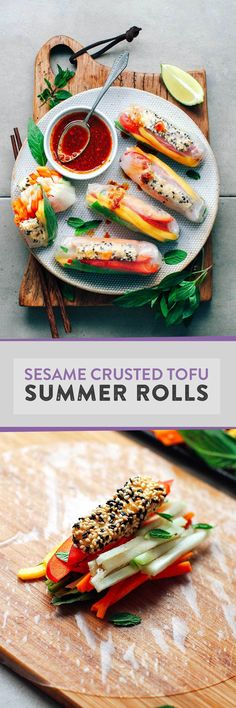 Fresh and healthy summer rolls filled with sesame crusted tofu, mango, chayote, and served with a spicy dipping sauce!