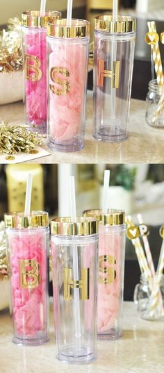View and Purchase Event Blossom Gold Monogram BPA-Free Acrylic Tumbler with Lid & Straw from Party Favor Source