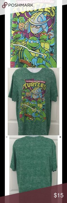 "Teenage Mutant Ninja Turtles Mens T-Shirt Large Teenage Mutant Ninja Turtles Mens T-Shirt L Large Throwback Cartoon TMNT Green  Super soft green t-shirt in a ""throwback"" style Athletic fit Looks new - no flaws Approximate measurements: Chest - 22"" across Length - 29.5 from shoulder to bottom of shirt TMNT Shirts Tees - Short Sleeve"