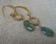 MacDesigns  Moss Aquamarine Gold Earrings by macdesignsgallery, $118.00