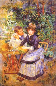 Pierre-Auguste Renoir, In the Garden, 1885, 170.5 cm × 112.5 cm, Oil on canvas.  The look of the young man shows his intentions: he is asking for this young woman's hand and heart. Her response reflects her thoughts of the future. An unusual detail for Renoir here is the cross-worn by the young woman; it is placed in the center of the composition, creating the focused meaning.