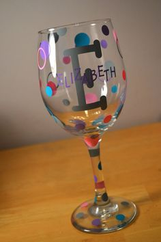 Custom Vinyl Wine Glass Decals By PersonalizedJewellz On Etsy - Custom vinyl decals for wine glasses