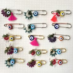 These limited edition pins are embellished with handcrafted colorful point laces, tassels and vivid colored evil eyes that are made of glass. You may order either gold colored pins or silver colored ones (pins are not golden or silver). Gold colored pins are 5.2 cm/2.04 inches long. Silver colored pins are 6.5 cm/2.55 inches long. You may use your limited edition handcrafted pins on your T-shirts, handbags, hats, cardigans, coats, scarves and so on... You will be 'Pinned with Love'! For your…