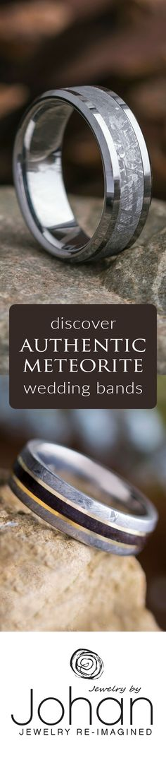 Browse our huge collection of authentic, handmade meteorite wedding bands!
