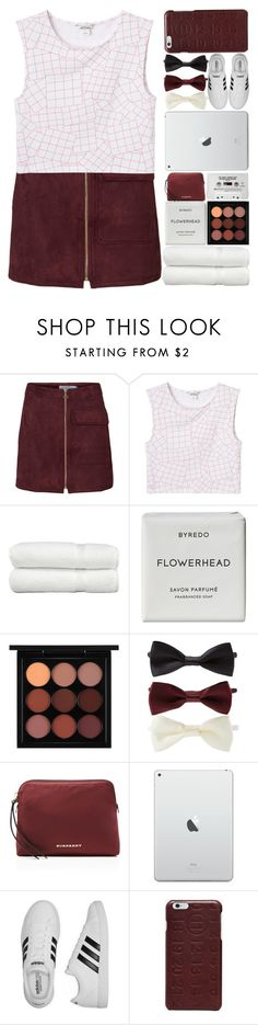 """Burgundy and White."" by makfashions ❤ liked on Polyvore featuring Monki, Linum Home Textiles, Byredo, MAC Cosmetics, Forever 21, Burberry, adidas and Maison Margiela"