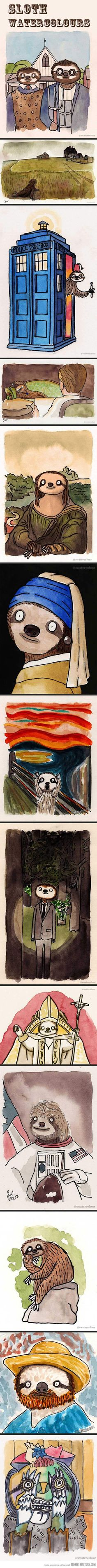 Haha. Sloths taking over famous paintings (and some other random things) Is it bad as an art major to actually like some of these more then the originals?