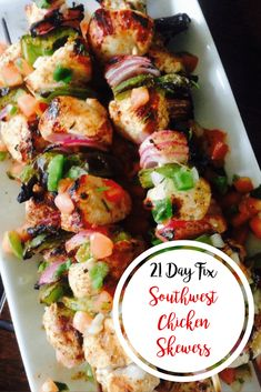 Southwest chicken skewers are a delicious, healthy grilled dinner. Southwest seasoned chicken breast and fiber filled veggies are in this 21 Day Fix recipe. #southwestchicken #grilling #bbqrecipes #21dayfix #weightwatchers #confessionsofafitfoodie