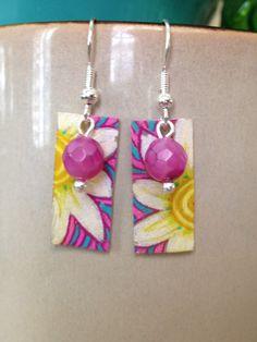 Shrink Plastic Daisy Flower Earrings