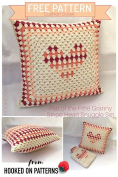 FREE Crochet Cushion Cover Pattern - Granny Stripe Heart Cushion Cover from Hooked On Patterns. An easy crochet pattern for a heart motif cushion cover to brighten up your room. Cushion Cover Pattern, Crochet Cushion Cover, Cushion Cover Designs, Crochet Pillow Pattern, Crochet Cushions, Crochet Patterns, Motif Tropical, Heart Cushion, Crochet Home Decor