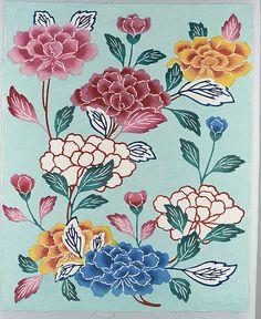 Bingata Panel with Tree Peonies - 20th century, Japan, cotton tabby