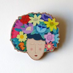 A cute girl with a flower headdress. From an original illustration this brooch has been laser cut from cherry wood. The flower girl illustration has been matte printed onto the wood which has been specially treated to prevent scratches and knocks. Summer Of Love, Summer Days, Flower Headdress, Flower Designs, Jewelry Crafts, Cute Girls, Diy And Crafts, Christmas Crafts, Projects To Try