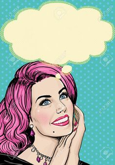 Illustration: Pop Art illustration of pink head girl on Pop art background. Art And Illustration, Pop Art Vintage, Pin Up Girl Vintage, Birthday Greeting Cards, Birthday Greetings, Fond Pop Art, Comics Vintage, Pop Art Background, Pop Art Women