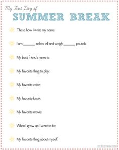 Last day of school? Use this free printable to interview your kids about their grand plans for summer!