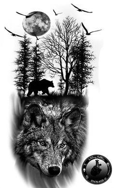 desenho tattoo lobo preto e cinza,wolf ,lobo, tatuagem preto e cinza wolf tattoo ideas lobo preto e cinza Wolf Tattoo Sleeve, Lion Tattoo, Sleeve Tattoos, Arm Tattoo, Tattoo Ink, Wolf Tattoos Men, Animal Tattoos, Tattoos For Guys, Wolf Tattoo Design