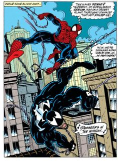 "comicbookvault: ""Where's this movie? ASM (June Art by Mark Bagley (pencils), Randy Emberlin (inks) & Bob Sharen (colors) Words by David Michelinie "" Marvel - Venom Marvel Venom, Marvel Dc Comics, Comic Books Art, Comic Art, Venom Comics, Mark Bagley, Avengers Team, Superman, Batman"