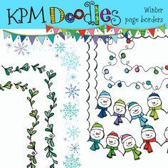 WInter Borders Digital Clip art clipart by kpmdoodles on Etsy