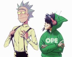 Rick Sanchez and Noodle, Rick and Morty, the Gorillaz, Fanart, crossover Gorillaz, Image Editing, Rick And Morty, Original Image, Noodle, Crossover, Cool Designs, Fanart, Patches