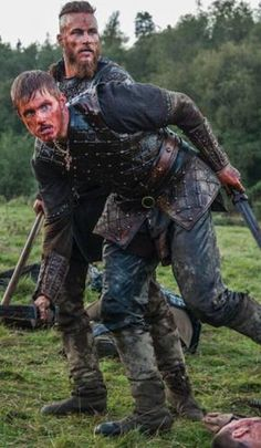Father and son bonding....Viking style