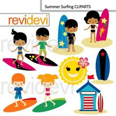Summer surfing cliparts set include 9 digital images in bright bold colors. You will find boys and girls images, with light and dark skin colors. These would be perfect for summer themed creations such [...]