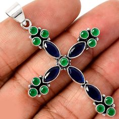 Sale, Beautiful Indian Sapphire and Green Onyx Cross, 925 Silver , Gift for Her, Gift for Him, God Mother, God Daughter God Son by edolena on Etsy https://www.etsy.com/listing/239734651/sale-beautiful-indian-sapphire-and-green