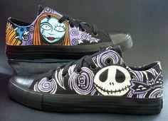 NWT!! Handpainted Disney Nightmare Before Christmas Jack Sally Shoes Women SZ 8