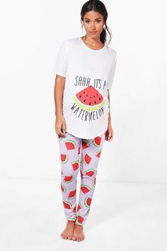 5f009549a57ea boohoo Maternity Sadie It's A Watermelon PJ Set #ad Stylish Maternity,  Maternity Work Clothes