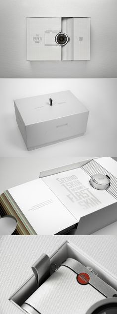 // Leica Edition Fedrigoni: The Paper Skin // flip book, info display Electronic Packaging, Phone Packaging, Cool Packaging, Luxury Packaging, Food Packaging Design, Tea Packaging, Packaging Design Inspiration, Brand Packaging, Branding Design