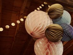 ball cluster; try with paper flowers and paper balls and twig balls love the gold garland
