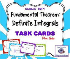 Fundamental Theorem of CalculusThis activity is designed for Calculus 1 or AP Calculus.  The Fundamental Theorem of Calculus is usually included in Unit 4, Integration, right after Antiderivatives.  This activity reinforces the concepts taught in class and helps provide a solid basis before going on to substitution.Included:   *Task Cards: There are 16 cards.       # 1 - 8    depict graphs of functions with shaded regions.
