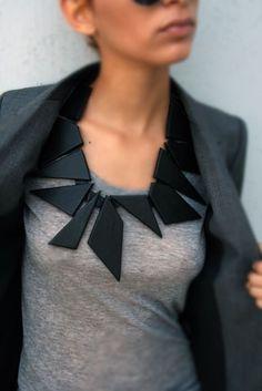 geometric statement necklace! #grey #black