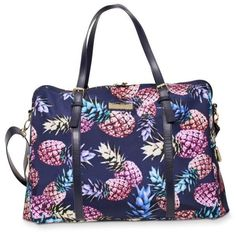 Jessica Simpson Pineapple Jessica Simpson Pineapple Print Weekender ($64) ❤ liked on Polyvore featuring bags, luggage and pineapple
